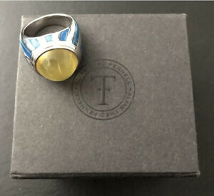 Theo fennell Carnival striped enamel and sterling silver ring. Size P.