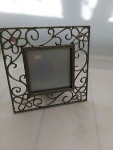 Photo Frame Silver Colour Open Design Flowers Swirls Glass stone 13.5cm square