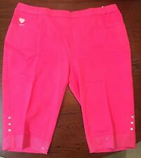 Quacker Factory DreamJeannes Capris with Rhinestones (2X) - Watermelon - NWT