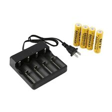 4x 18650 3.7V 9800mAh Protected Li-ion Battery + Universal US Stop Charger #8