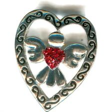 Pin / Brooch P8140-2 With Angel Vintage Red Heart Made With Swarovski Element