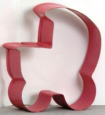 "EUC Pink CARRIAGE Metal COOKIE Cutter BABY SHOWER 3.5"" x 2,75"" x 1"" deep"