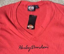 Harley Davidson Red V Neck Top Nwt Women's Large