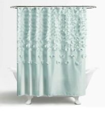 Lush Decor Light Blue Ruffle Flower Shower Curtain