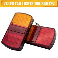 2x 12/24V 12LED Car Tail lights Stop Brake lamps Lights SUBMERSIBLE Boat Trailer