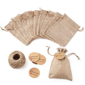 30pcs Linen Wedding Favors Burlap Gift Pouches Jute Jewelry Bags Drawstring Bags