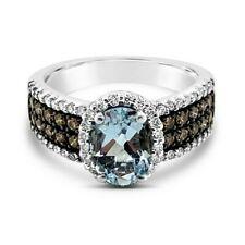 Levian ® Anillo Aguamarina chocolate diamantes diamantes Vainilla ® ® 14K oro Vainilla ®