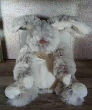 Doudou peluche lapin perle gris chiné blanc 25 cm Histoire D'ours + cadeau