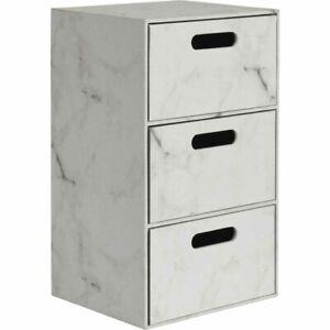 Marble 3 Drawer Unit Chest of Drawer Bedroom/Bathroom Cabinet Storage Unit