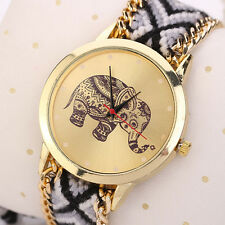 Women Watch Bracelet Elephant Pattern Weaved Rope Band Dial Quartz Wristwatch