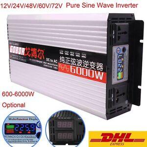 Pure Sine Wave Inverter DC 12V 24V 48V 60V 72V to AC 220V 600W 2000W 3000W 5000W