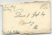 US Stampless Cover Folded Letter Trap, PA M/S February 28, 1815-1832 12c Rate