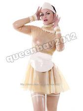 100% Latex Rubber Gummi Maid/Maiden kleid Dress Ganzanzug Anzug Schürze Kostüm