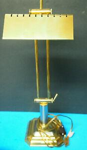 VINTAGE BRASS DESK PIANO LIBRARY LAMP, ADJUSTABLE ARM