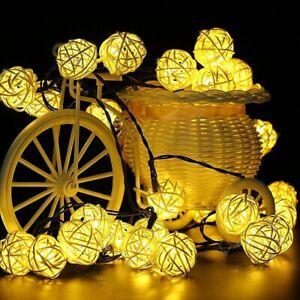 20 LED Solar Lichterkette Lichtvorhang Party Rattan Kugel Kette Außen/Inner