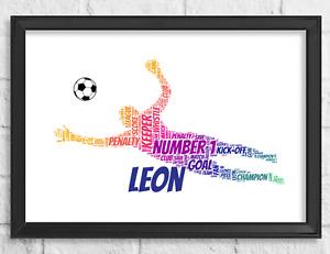 Personalised Goalkeeper Football Kids Gifts Birthday present Christmas Word art