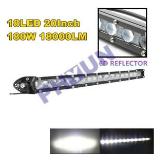 1PC 20Inch 180w Slim LED Light Bar Aluminum Alloy Housing IP68 6500K Xenon White