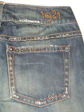 1921 Denim Jeans Slim Bootcut Dark Distressed Altered Sz 27