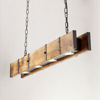 Industrial Wood Kitchen Bar 4-LED Rust Retro Farmhouse Pendant Ceiling Lighting