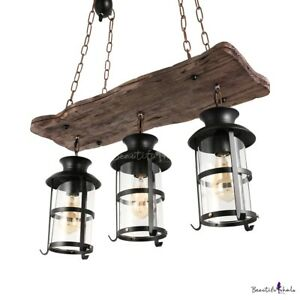 Industrial Wood Wrought Iron 3 Lights Pendant Light Chandelier Hanging Lamp Cage