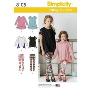NEW Simplicity Pattern 8105 Child's & Girls' Knit Tunics & Leggings By Spotlight