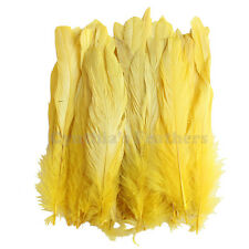 """50 pcs 6-8"""" long Yellow Dyed Rooster COQUE tail Feathers for crafting, NEW"""
