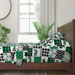 Farm Cheater Wholecloth Tractor Green 100% Cotton Sateen Sheet Set by Roostery