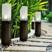 Rattan Style Solar Powered LED Post Path Stake Lights Garden Patio Lighting