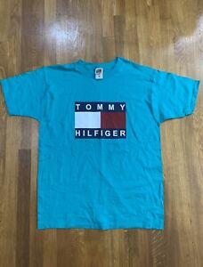VINTAGE Tommy Hilfiger Teal Green T Shirt Fruit Of The Loom Mens Size Large NWOT