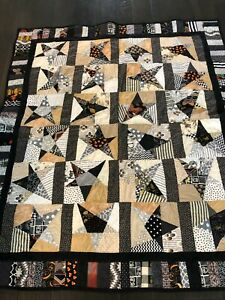 """Homemade Black, Gray, and White Stars & Strips Rustic Farmhouse Quilt-54"""" x 47"""""""