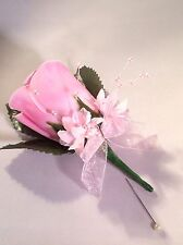 BABY / PALE PINK SILK ROSE BUTTONHOLES WEDDINGS / PROMS ARTIFICIAL SINGLE FLOWER