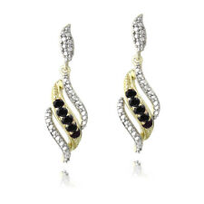 18K Gold Plated Sapphire & Diamond Accent Swirl Dangle Earrings
