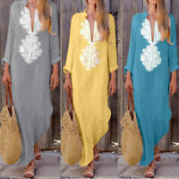 Womens Boho Cotton Linen Long Sleeve V-neck Casual Baggy Kaftan Long Maxi Dress