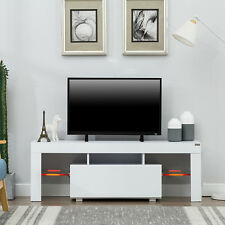 "51"" TV Stand Media Storage Cabinet w/LED Light  Glass Shelves Console RC White"
