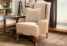 Sure Fit Stretch Stripe Wing Chair Wingback Slipcover Tan Color