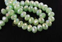 100pcs 6mm Faceted Rondelle Crystal Glass Loose Spacer Beads Jade Lt Green AB