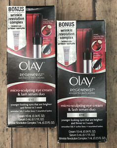 Olay Regenerist Micro Sculpting Eye Cream & Lash Serum Duo & Bonus 2 Packs Kits
