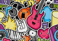 A1 Cartoon Emoji Rock Music Pop Poster Art Print 60 x 90cm 180gsm - Gift #14682