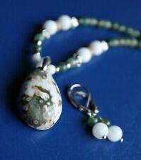 "LOVELY Ocean JASPER Teardrop Pendant Necklace Set - Green & White 16"""