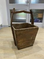 Antique French Harvest Bucket Pail Log Basket Well Bucket 19th Century 18th
