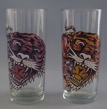 Ed Hardy Tiger Drinking Glasses Set Of 2 Tall 12 ounces Artist Beer