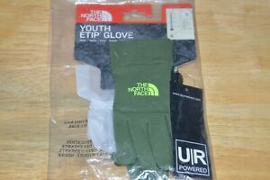 north face youth etip touch screen compatible gloves scallion green Small NEW