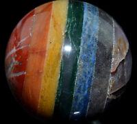 "Seven Layer 2.58"" Chakra Sphere Quartz Crystal Metaphysical Art Piece  SP194"