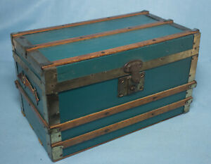 Antique Child Doll Steamer Trunk w/Tray & Hat Box- Wood & Metal Straps