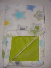 Little Miracles White Star Baby Blanket Green Sherpa