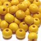 Lot de 100 perles rondes en Bois 8mm Jaune Citron