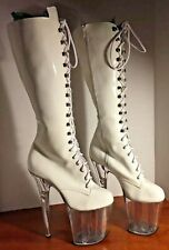 """Lace Up Knee High White Patent Leather 8"""" High Clear Platform And Heel sz.8 1/2"""