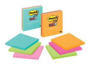 Post-it 675-3SSMX Assorted Bright Color Ruled Super Sticky Notes 4 L x 4 W in.
