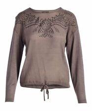 Elliott & Vine Rhinestone-Embellished Knot-Front Long-Sleeve Top (Gray, XL)