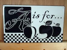 A for Apples Black & White Tin Metal Sign Kitchen Decor Farm